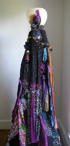Carol Anna Meese Totems velvet and silk fabric, french embroidery, bells, yarn, ornaments, earings