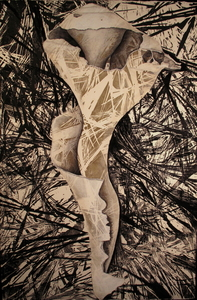 CAROLYN SWIFT Midlife woodcut, graphite pencil, charcoal pencil, conte crayon