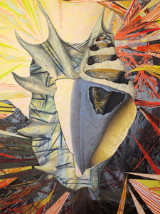 CAROLYN SWIFT Midlife mixed media collage: woodcut, relief, lithography, acrylic paint and ink, colored pencil, graphite pencil