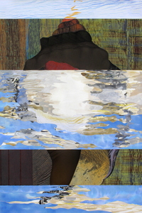 CAROLYN SWIFT Midlife mixed media collage: woodcut, relief, etching, acrylic paint and ink, colored pencil