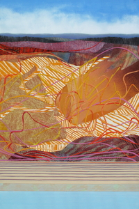 CAROLYN SWIFT Ebb and Flow mixed media collage:  woodcut, relief, monoprint, acrylic ink and paint, graphite pencil, colored pencil