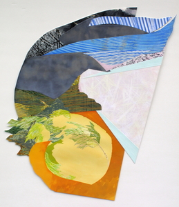 CAROLYN SWIFT Shaped Pieces mixed media collage:  woodcut, relief, acrylic ink and paint, colored pencil