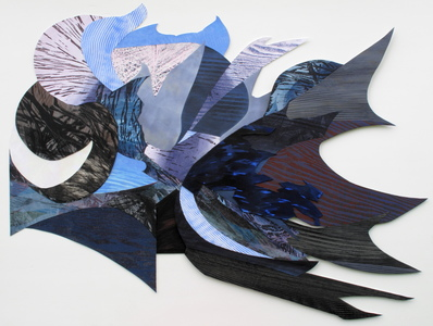 CAROLYN SWIFT Shaped Pieces relief and collage: etching, woodcut, relief print, acrylic ink and paint, colored pencil