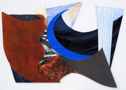 CAROLYN SWIFT Shaped Pieces mixed media relief and collage: woodcut, relief, acrylic ink and paint, colored pencil