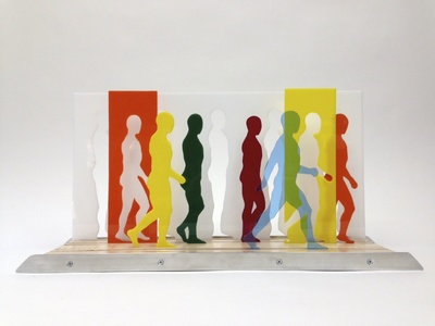 Cassie Hyde Strasser Acrylic Men Colored acrylic, wood, aluminum