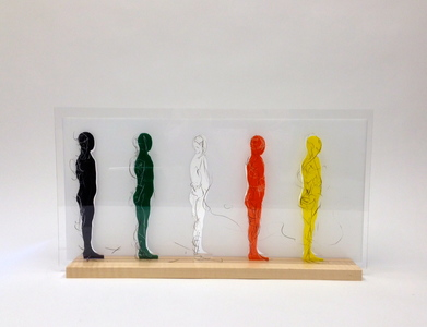Cassie Hyde Strasser Acrylic Men Colored and clear acrylic, wood, grease pencil