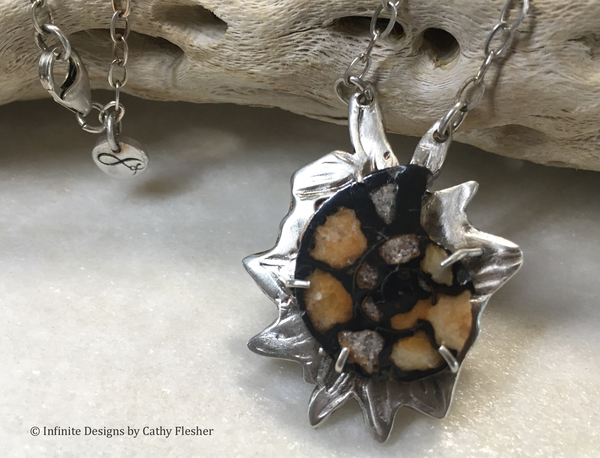 Infinite Designs by Cathy Flesher arizona dreaming Hematite ammonite, fine silver, and sterling silver