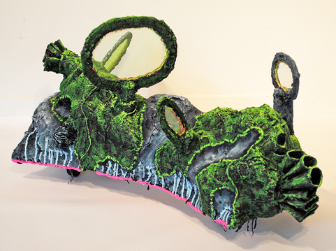 cathy wysocki SUFFER A SEA CHANGE - sculpture wood, plaster, burlap, wire, cardboard, netting, sand, wheels, marble dust, acrylic