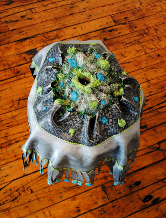 cathy wysocki SUFFER A SEA CHANGE - sculpture plaster,gauze, rubber,lint, hair, wire,twine,cardboard, netting, beads, acrylic, marble dust