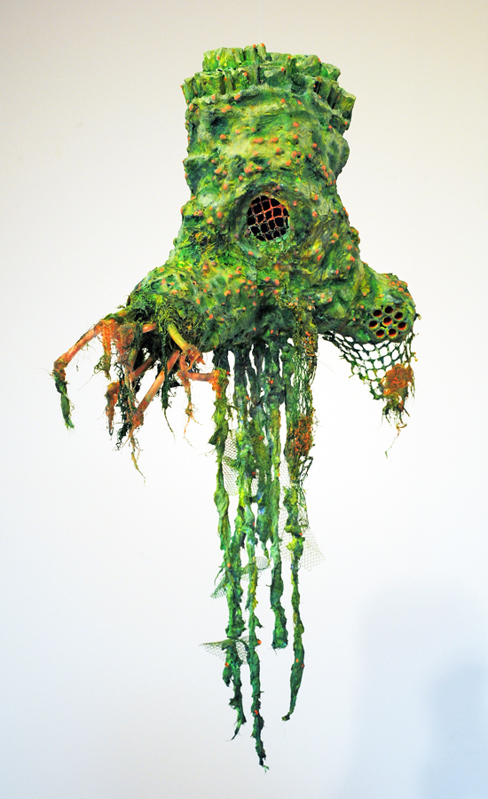 cathy wysocki SUFFER A SEA CHANGE - sculpture plaster,gauze, lint, hair,plastic tubing, wire,twine,cardboard, netting, beads, acrylic, marble dust