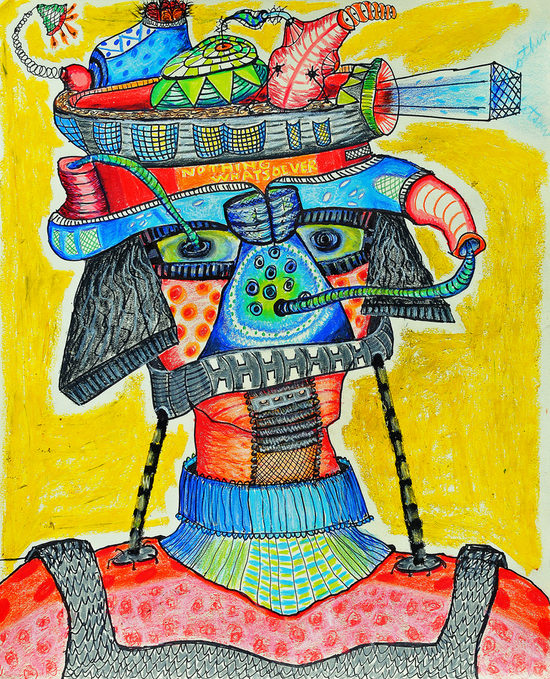 cathy wysocki BOTHERED IN THE BASEMENT colored pencil, oil stick, permanent marker on paper