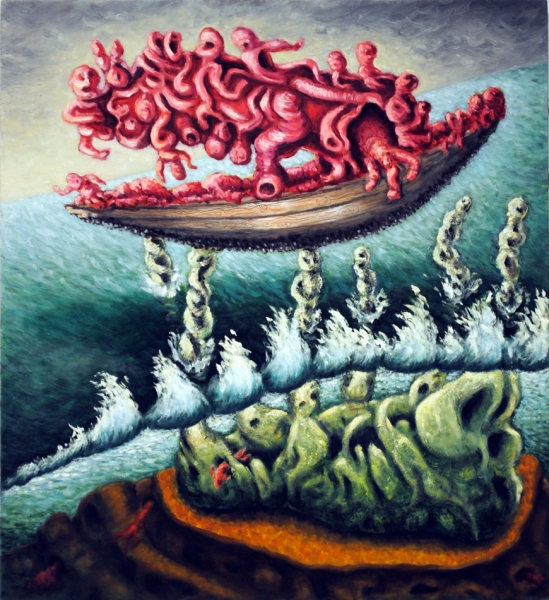 cathy wysocki SUFFER A SEA CHANGE - paintings oil on wood