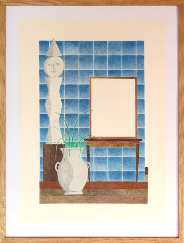 C. Bostwick  Altars Colored Pencil on Paper in Artist-Built Frame