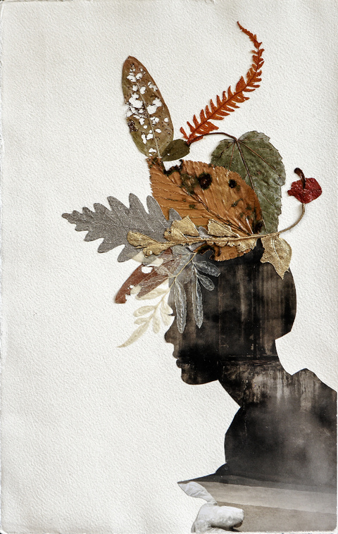 Cecilia Moy Fradet If the Hat Fits hand-cut altered paper, pressed leaves on paper