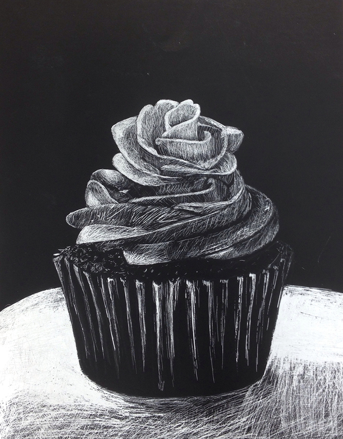 high school student work chocolate cupcake