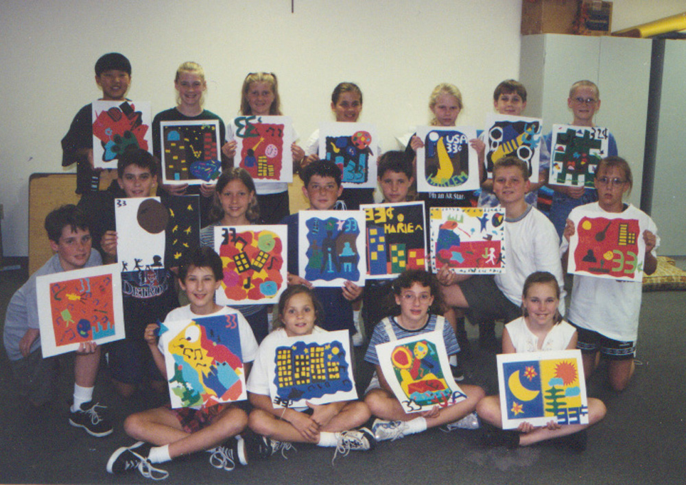 elementary student work harlem renaissance inspired stamps