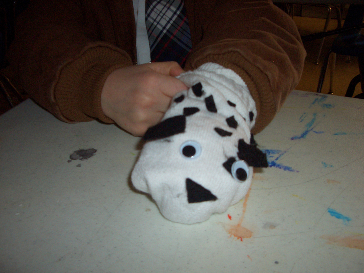 elementary student work dalmation puppet