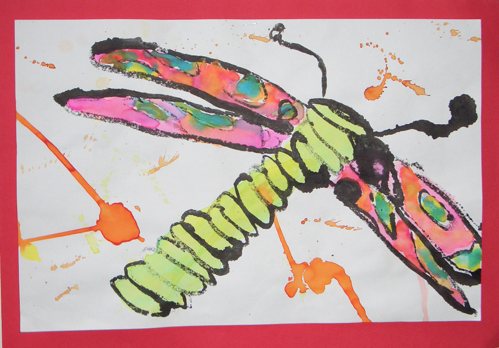 elementary student work dragonfly