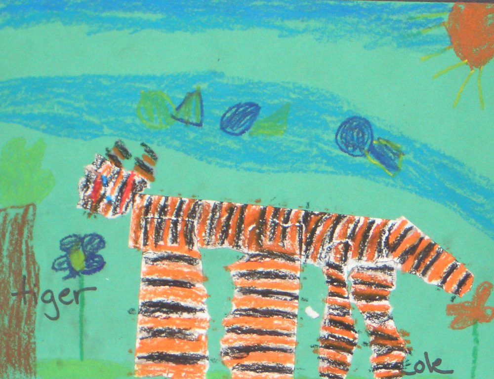 elementary student work tiger