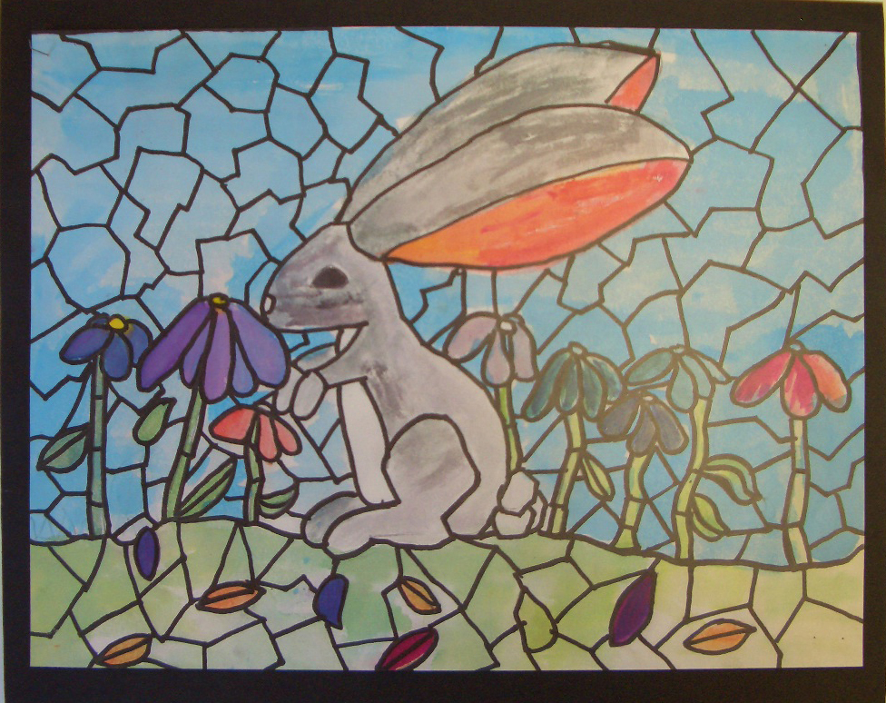 elementary student work rabbit