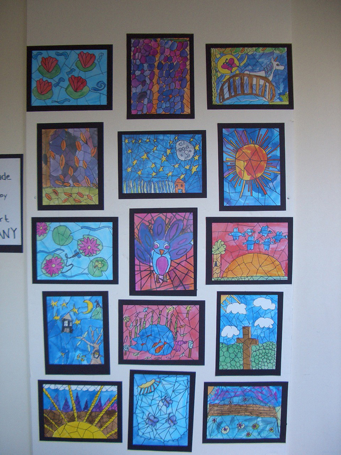 elementary student work tiffany inspired stained glass