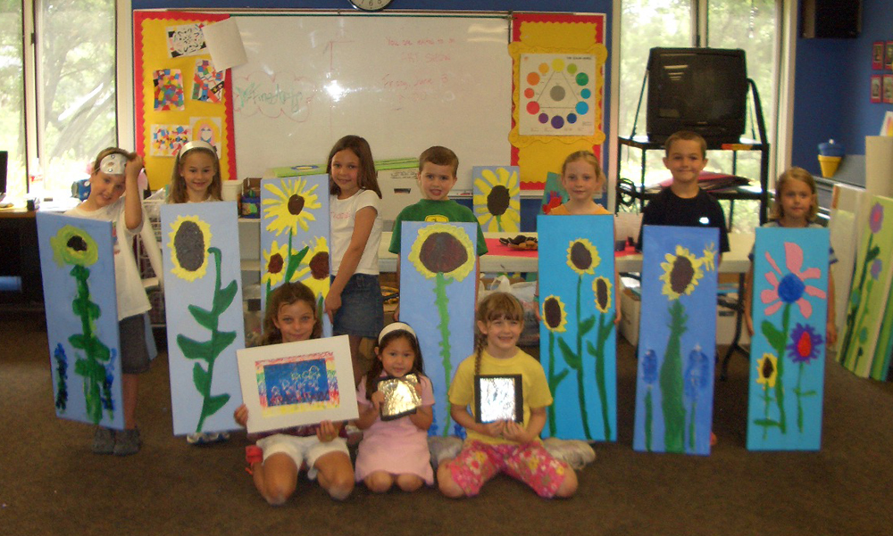elementary student work sunflowers