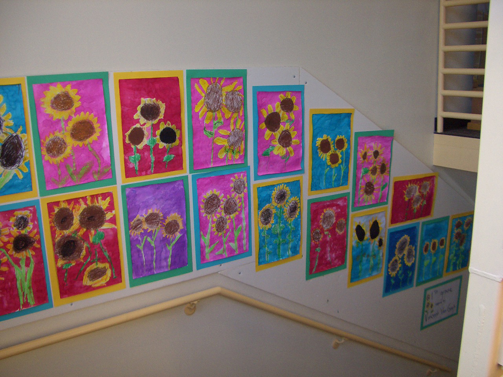 elementary student work van gogh inspired sunflowers