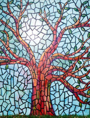 various media stained glass tree with reflection