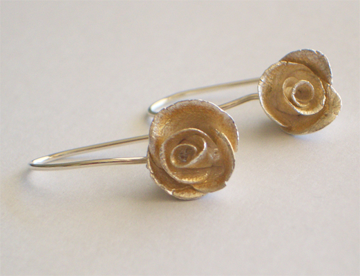 various media rose earrings