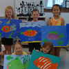 elementary student work acrylic on canvas