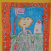 elementary student work plastic crayon, sharpie and watercolor on paper