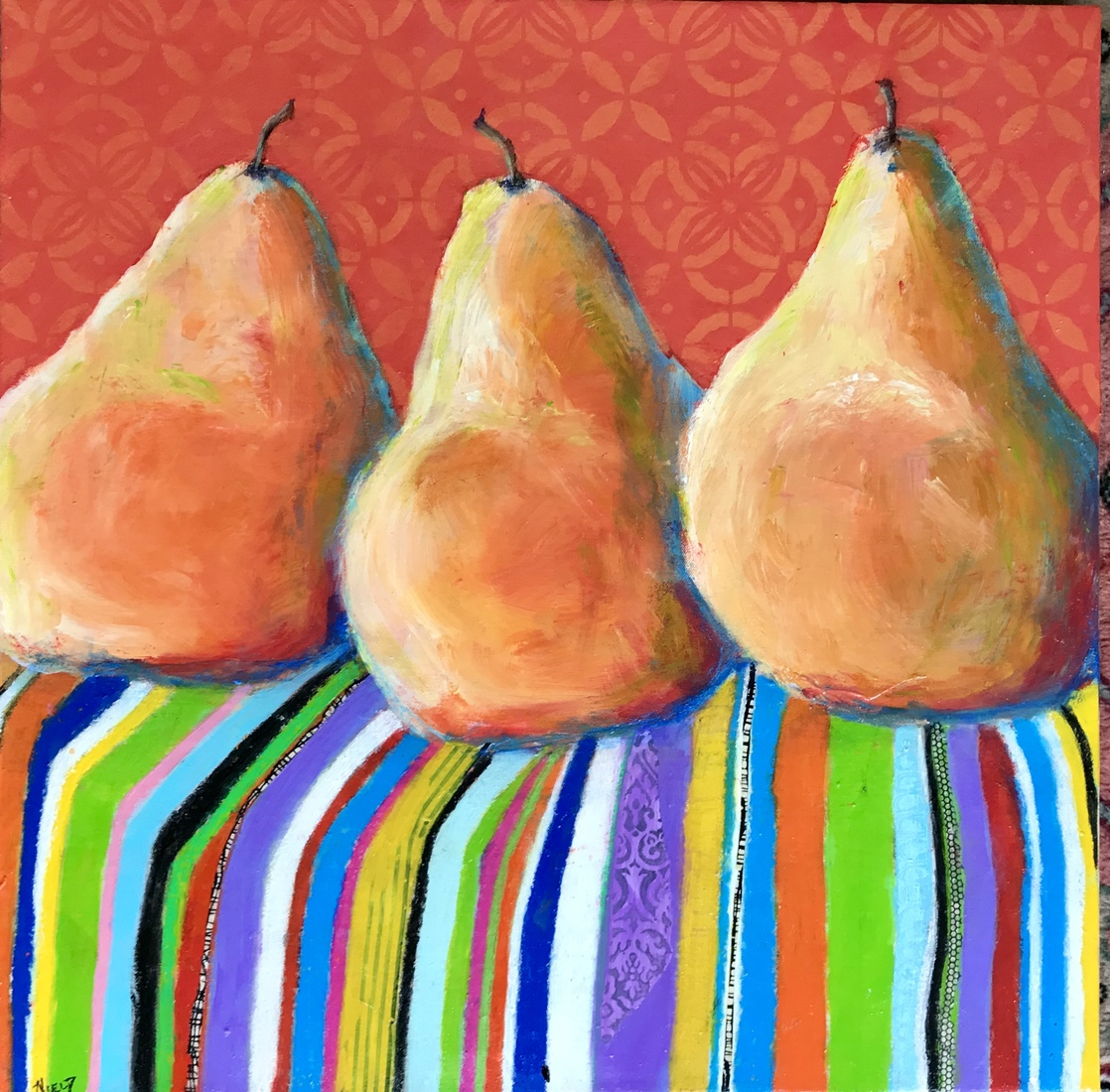 Paint & Palette Knife Pears on Stripes