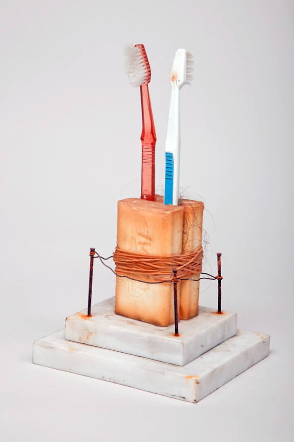 Charles Goss Everything I Don't Know marble, soap, tooth brushes, human hair, rubber bands