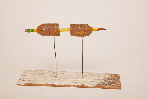 Charles Goss Everything I Don't Know m/m wood, wire, pencil, sausage