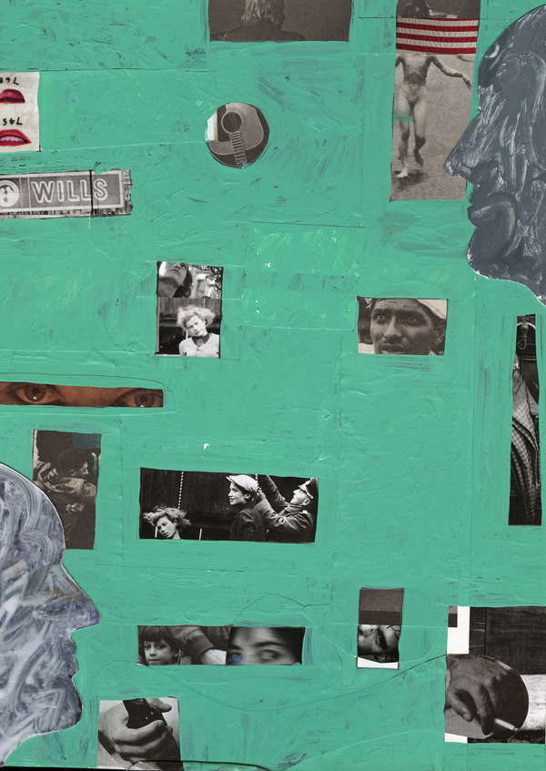 Charles Goss Sixty Collage, acrylic, pencil