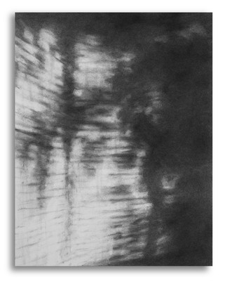 Cherith Lundin The same river twice charcoal on paper, mounted on panel