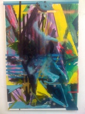 Cheryl Donegan Painting water based oil, acrylic and spray paint on canvas