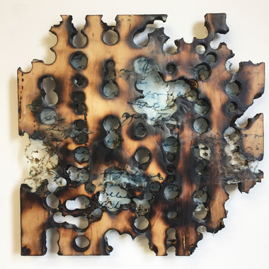 Christine Shannon Aaron Sculpture drilled burned plywood, gampi, lithograph
