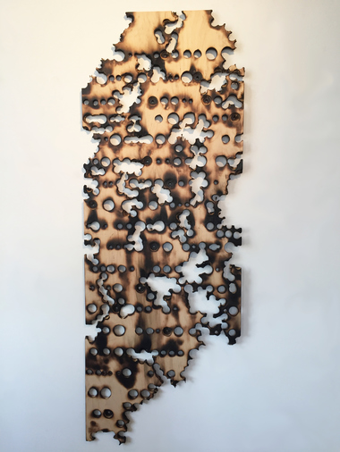 Christine Shannon Aaron Sculpture drilled burned plywood