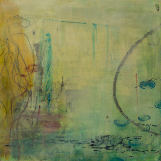 Christine Shannon Aaron Mixed Media Work oilstick, wax on panel