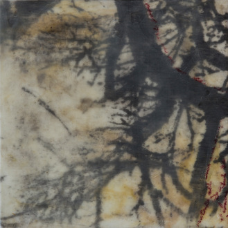 Christine Shannon Aaron Mixed Media lithographic monoprint, Asian paper, wax on panel