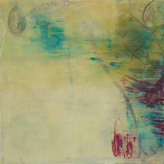 Christine Shannon Aaron Mixed Media Work oil stick, encaustic on panel