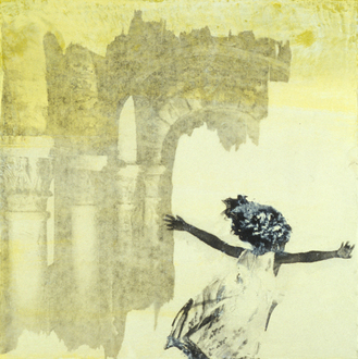 Christine Shannon Aaron Mixed Media Work lithographic monoprint, asian paper, encaustic on panel