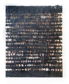 Christine Shannon Aaron Burnt Drawings burnt drawing on black kozo, wax