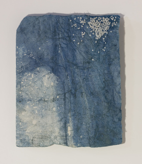 Christine Shannon Aaron Burnt Drawings stich drawing on hand dyed indigo paper
