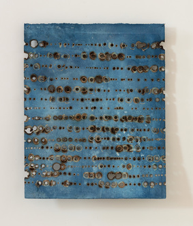 Christine Shannon Aaron Burnt Drawings burnt drawing on hand dyed indigo paper