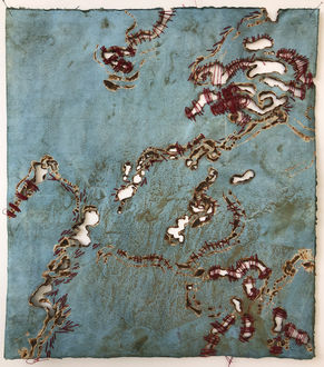 Christine Shannon Aaron Burnt Drawings burnt drawing on indigo dyed kozo paper with hand stitching