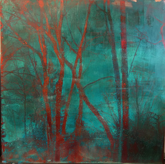 Christine Shannon Aaron Mixed Media lithograph, encaustic on patinated copper