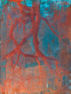 Christine Shannon Aaron Mixed Media Work lithograph, encaustic on patinated copper