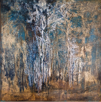 Christine Shannon Aaron Mixed Media Work lithograph, encaustic on oxidized steel
